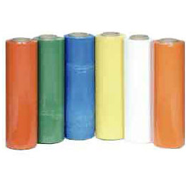 Image of multiple rolls of multi colored packaging film.