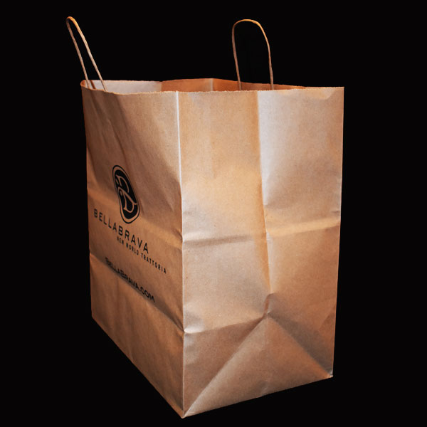 Brown paper shopping bag.