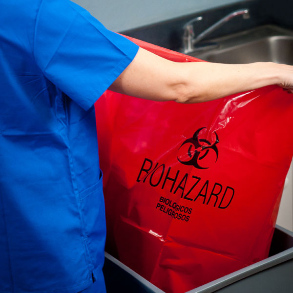Red biohazard bag.