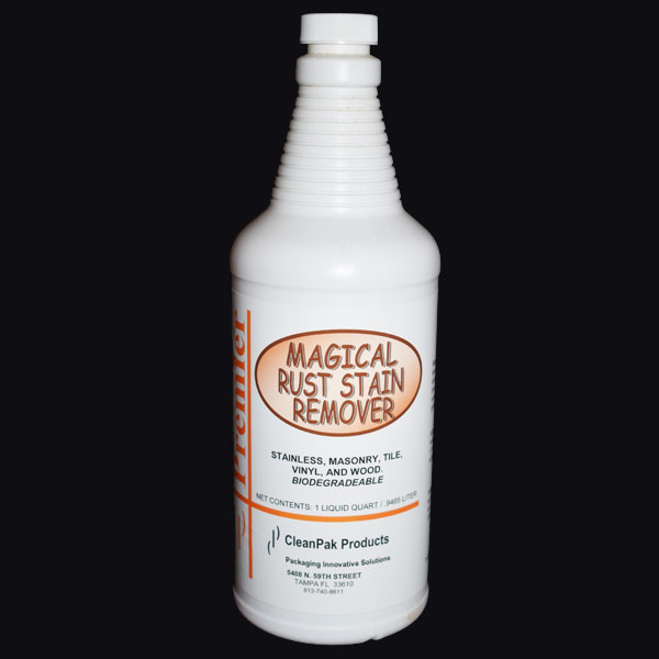 Magical Rust Stain Remover - small white bottle.