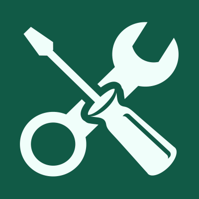 Green square with tools icon.