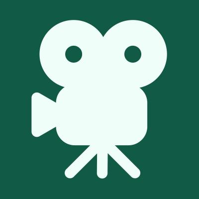 Green square with movie film camera icon.