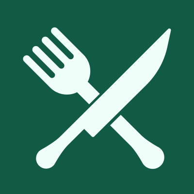 Green square with fork and knife icon.
