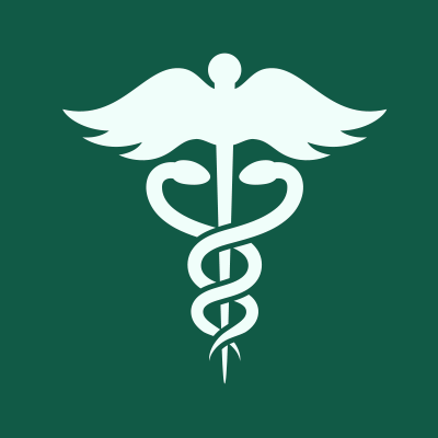 Green square with medical symbol icon.
