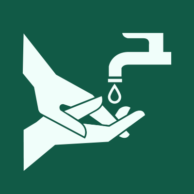 Green square with hand washing icon.