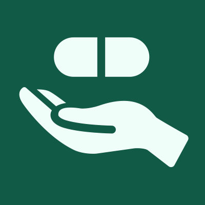 Green square with hand with pill icon.